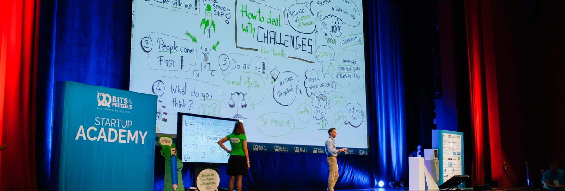 VerVieVas: Graphic Recording auf der Bits & Pretzels 2016 in München - live on stage